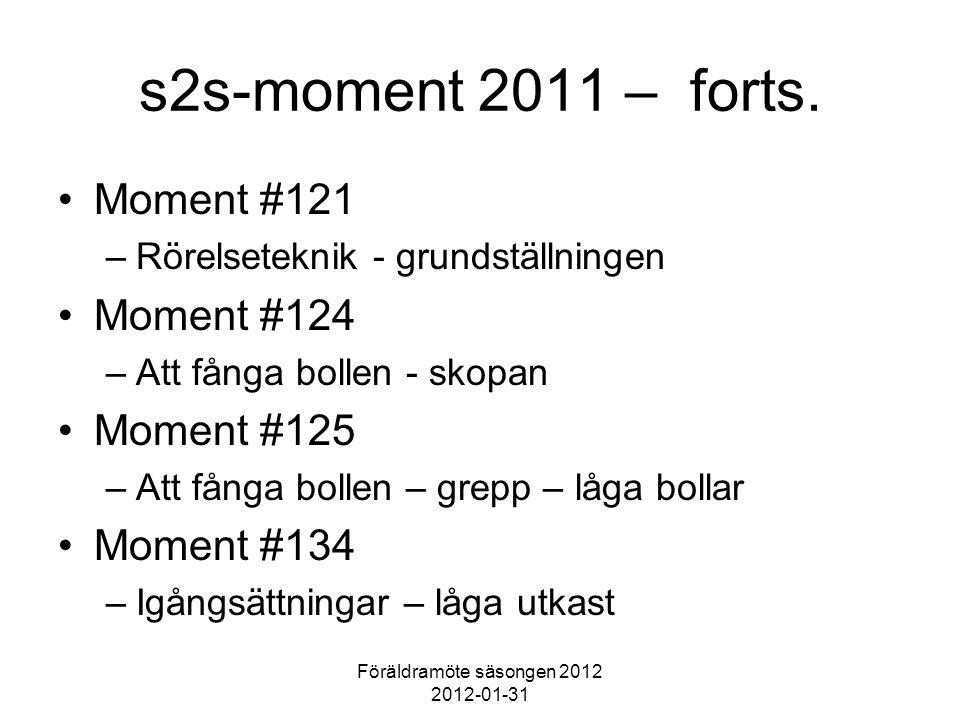 Föräldramöte säsongen 2012 2012-01-31 s2s-moment 2011 – forts. Moment #121 –Rörelseteknik - grundställningen Moment #124 –Att fånga bollen - skopan Mo