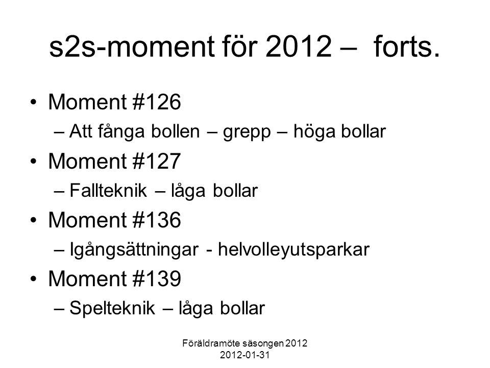 Föräldramöte säsongen 2012 2012-01-31 s2s-moment för 2012 – forts. Moment #126 –Att fånga bollen – grepp – höga bollar Moment #127 –Fallteknik – låga