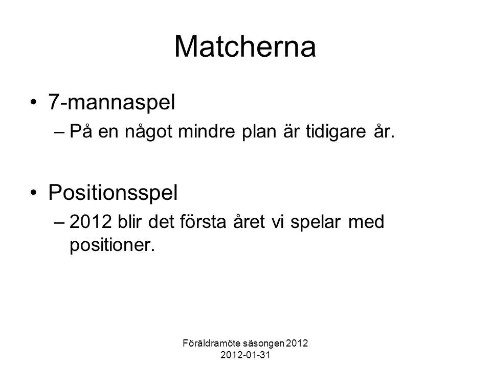 Föräldramöte säsongen 2012 2012-01-31 Matcherna 7-mannaspel –På en något mindre plan är tidigare år. Positionsspel –2012 blir det första året vi spela