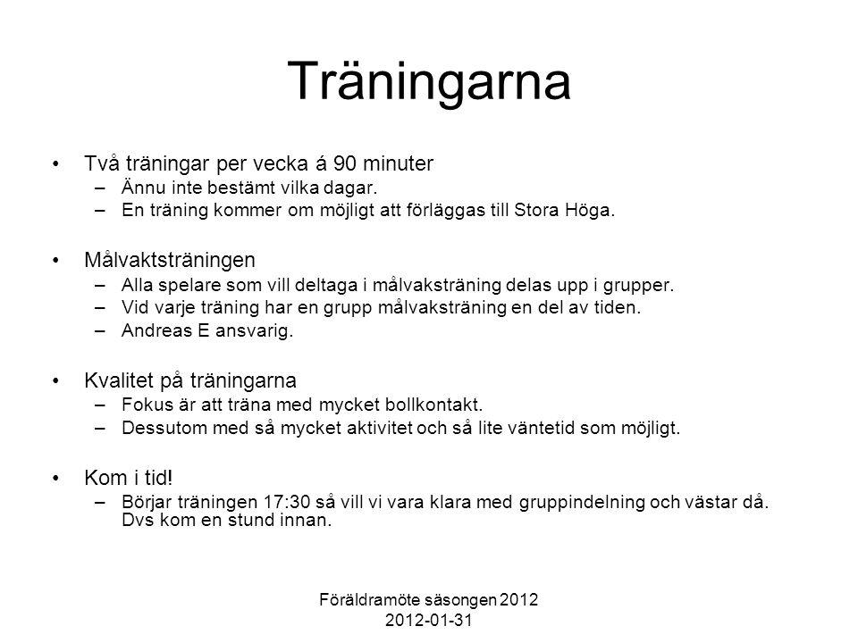 Föräldramöte säsongen 2012 2012-01-31 Träningarna Två träningar per vecka á 90 minuter –Ännu inte bestämt vilka dagar.