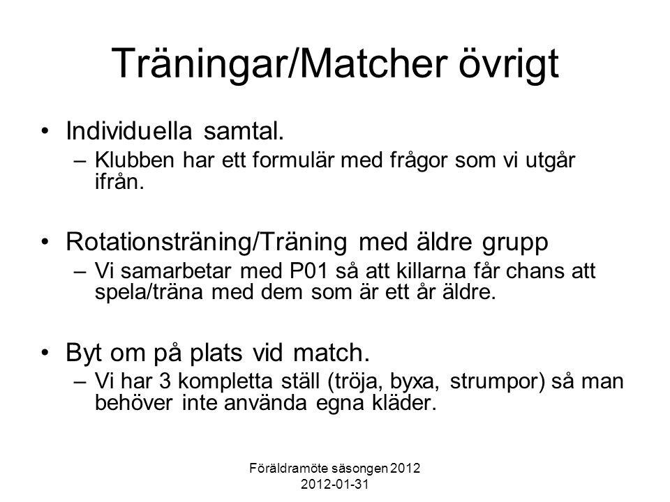 Föräldramöte säsongen 2012 2012-01-31 Träningar/Matcher övrigt Individuella samtal. –Klubben har ett formulär med frågor som vi utgår ifrån. Rotations
