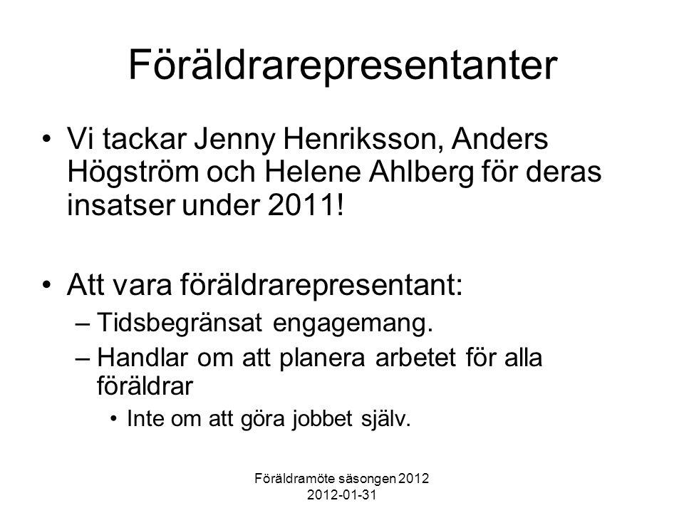 Föräldramöte säsongen 2012 2012-01-31 Föräldrarepresentanter Vi tackar Jenny Henriksson, Anders Högström och Helene Ahlberg för deras insatser under 2