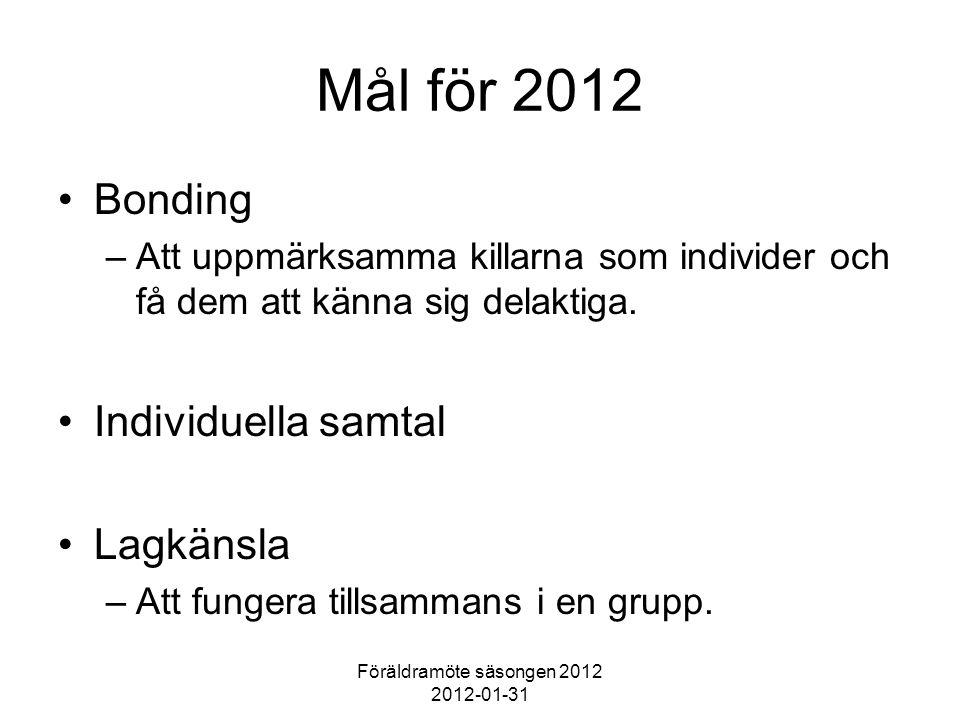 Föräldramöte säsongen 2012 2012-01-31 Mål för 2012 Bonding –Att uppmärksamma killarna som individer och få dem att känna sig delaktiga.