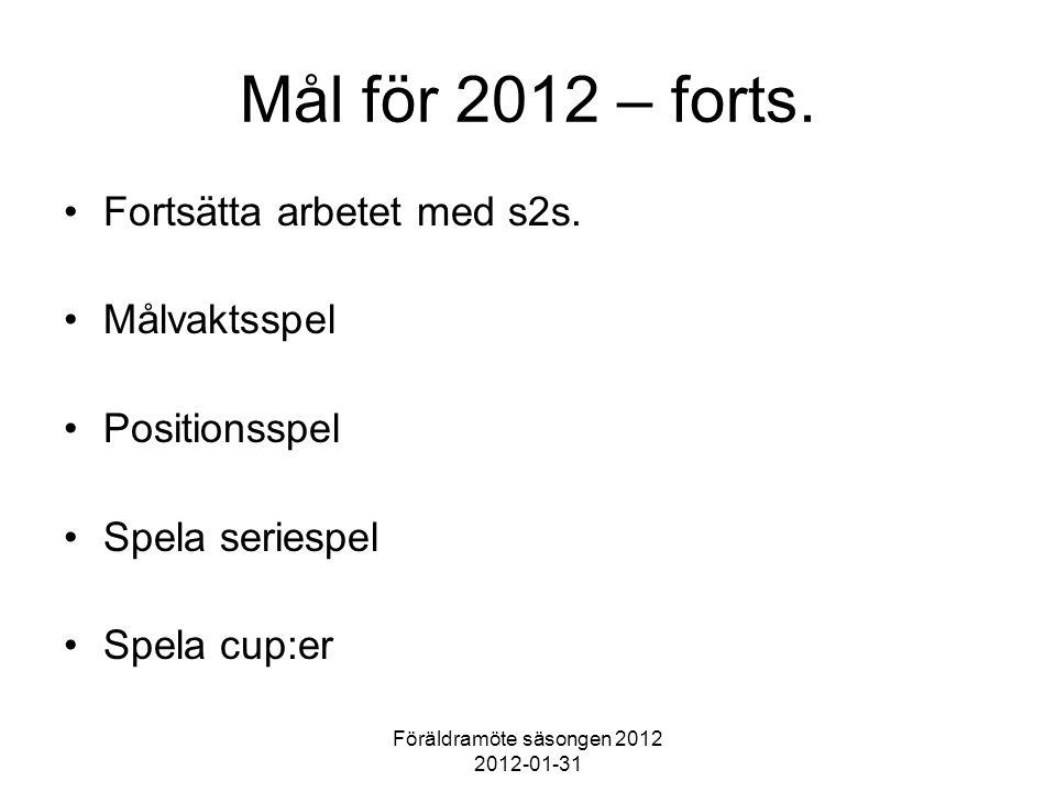 Föräldramöte säsongen 2012 2012-01-31 Mål för 2012 – forts. Fortsätta arbetet med s2s. Målvaktsspel Positionsspel Spela seriespel Spela cup:er