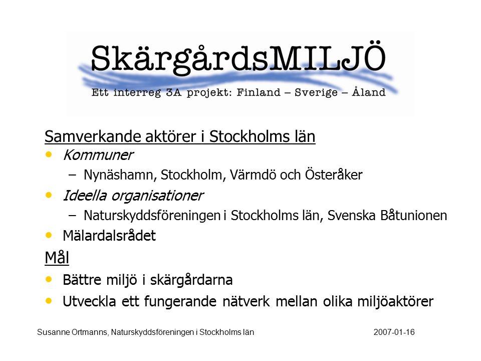 Samverkande aktörer i Stockholms län Kommuner – –Nynäshamn, Stockholm, Värmdö och Österåker Ideella organisationer – –Naturskyddsföreningen i Stockhol