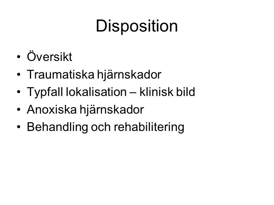 Disposition Översikt Traumatiska hjärnskador Typfall lokalisation – klinisk bild Anoxiska hjärnskador Behandling och rehabilitering