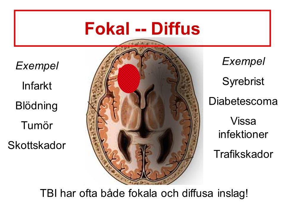 Exempel Infarkt Blödning Tumör Skottskador Exempel Syrebrist Diabetescoma Vissa infektioner Trafikskador TBI har ofta både fokala och diffusa inslag.
