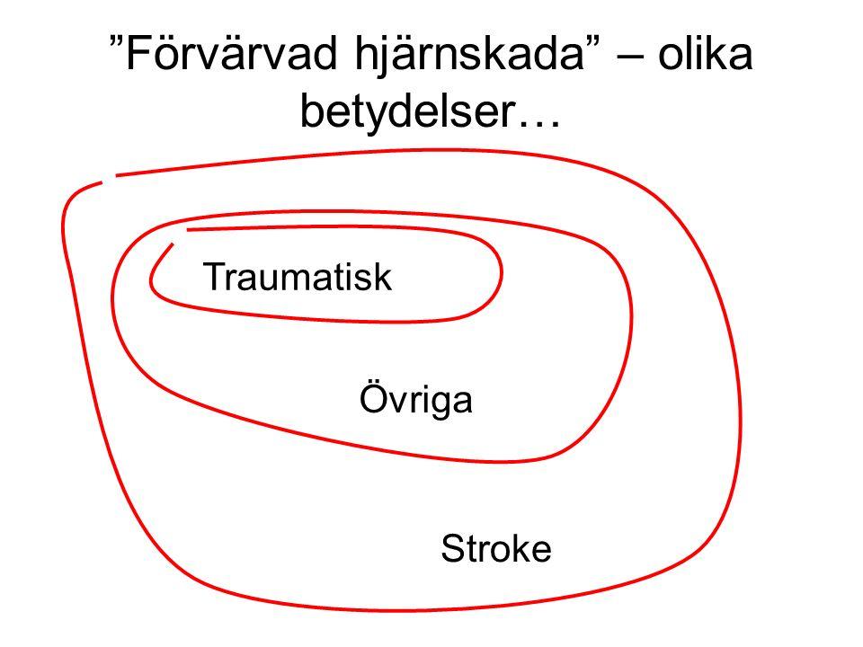 Förvärvad hjärnskada – olika betydelser… Traumatisk Övriga Stroke