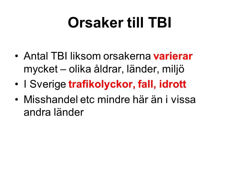Orsaker till TBI Antal TBI liksom orsakerna varierar mycket – olika åldrar, länder, miljö I Sverige trafikolyckor, fall, idrott Misshandel etc mindre här än i vissa andra länder
