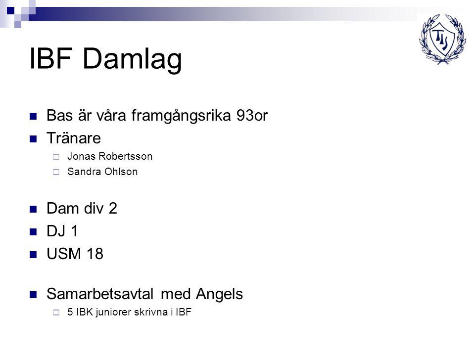 IBF Damlag Bas är våra framgångsrika 93or Tränare  Jonas Robertsson  Sandra Ohlson Dam div 2 DJ 1 USM 18 Samarbetsavtal med Angels  5 IBK juniorer