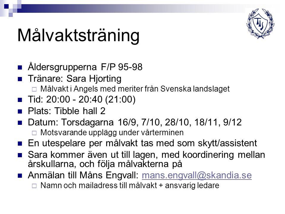 Målvaktsträning Åldersgrupperna F/P 95-98 Tränare: Sara Hjorting  Målvakt i Angels med meriter från Svenska landslaget Tid: 20:00 - 20:40 (21:00) Pla