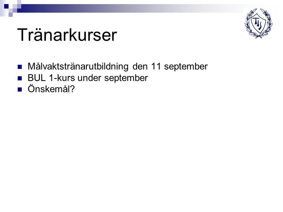 Tränarkurser Målvaktstränarutbildning den 11 september BUL 1-kurs under september Önskemål?