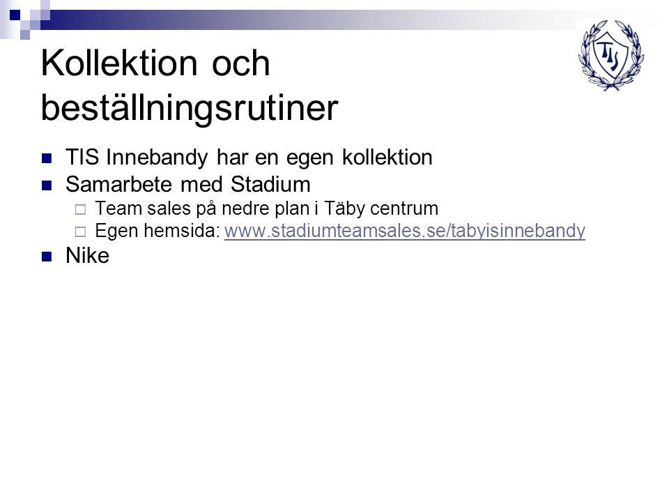 Kollektion och beställningsrutiner TIS Innebandy har en egen kollektion Samarbete med Stadium  Team sales på nedre plan i Täby centrum  Egen hemsida