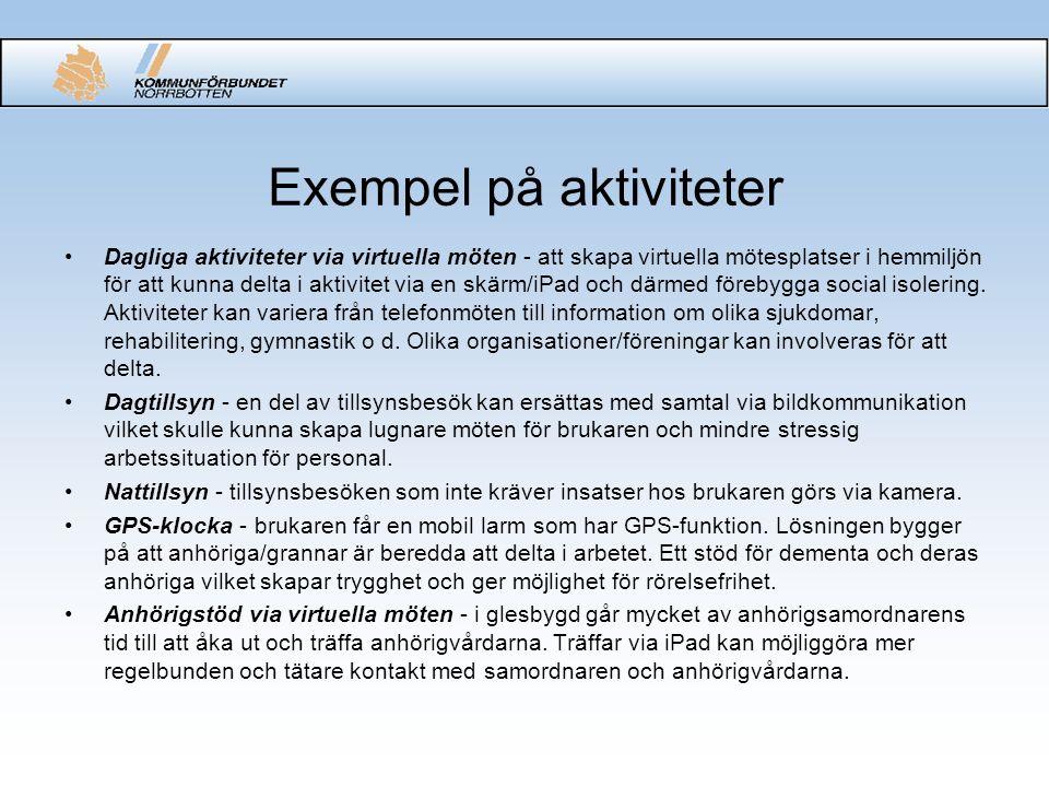 Exempel på aktiviteter Dagliga aktiviteter via virtuella möten - att skapa virtuella mötesplatser i hemmiljön för att kunna delta i aktivitet via en s