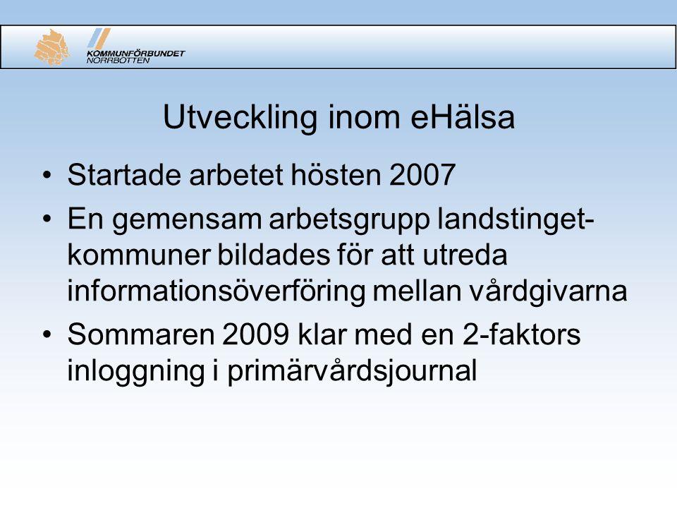 Utveckling inom eHälsa Startade arbetet hösten 2007 En gemensam arbetsgrupp landstinget- kommuner bildades för att utreda informationsöverföring mella
