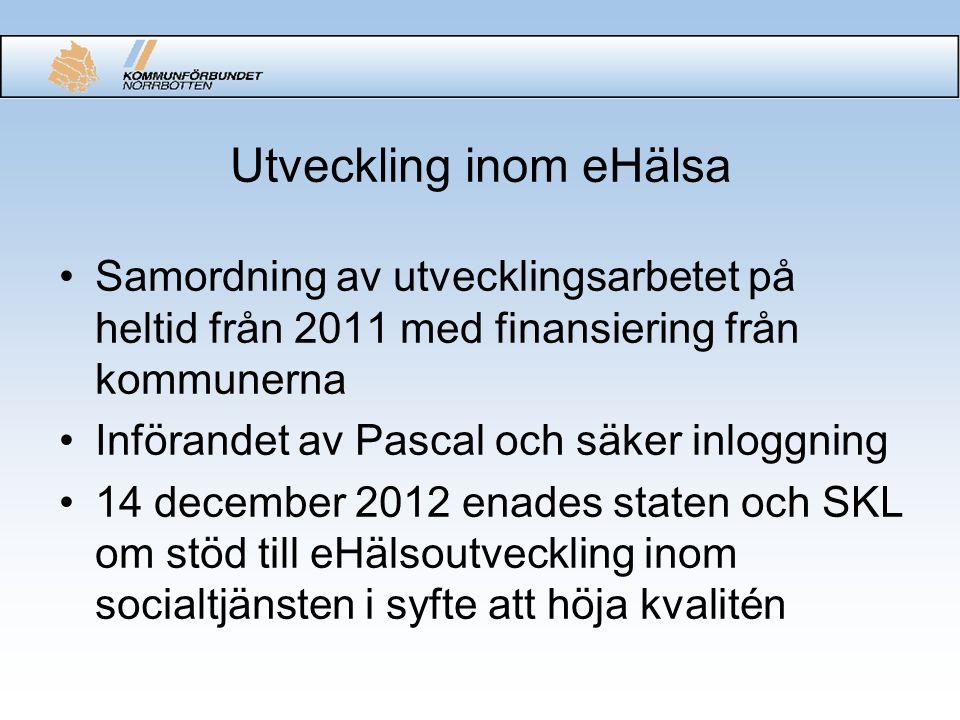 Utveckling inom eHälsa Samordning av utvecklingsarbetet på heltid från 2011 med finansiering från kommunerna Införandet av Pascal och säker inloggning