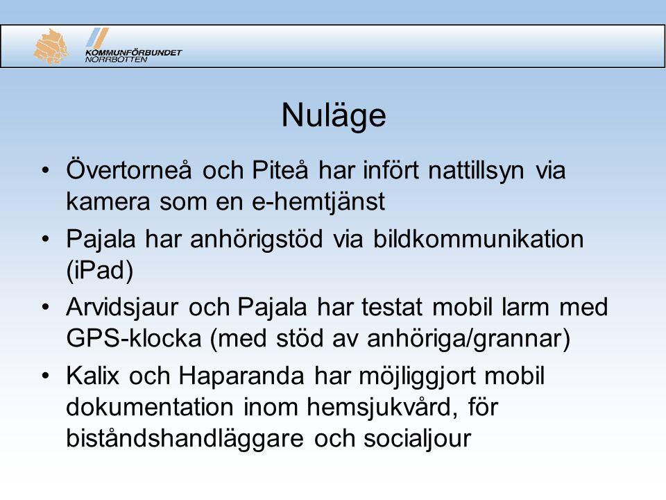 Nuläge Övertorneå och Piteå har infört nattillsyn via kamera som en e-hemtjänst Pajala har anhörigstöd via bildkommunikation (iPad) Arvidsjaur och Pajala har testat mobil larm med GPS-klocka (med stöd av anhöriga/grannar) Kalix och Haparanda har möjliggjort mobil dokumentation inom hemsjukvård, för biståndshandläggare och socialjour