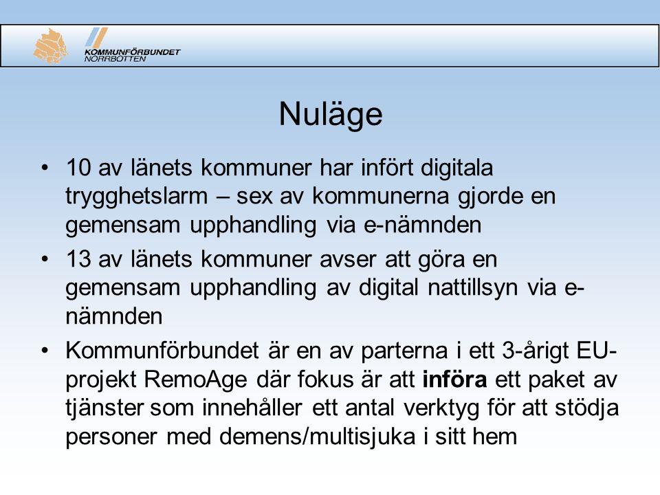 Nuläge 10 av länets kommuner har infört digitala trygghetslarm – sex av kommunerna gjorde en gemensam upphandling via e-nämnden 13 av länets kommuner