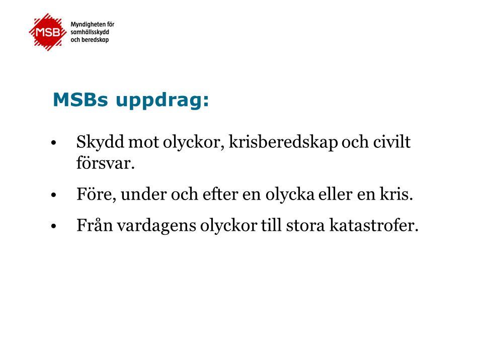 MSBs uppdrag: Skydd mot olyckor, krisberedskap och civilt försvar.