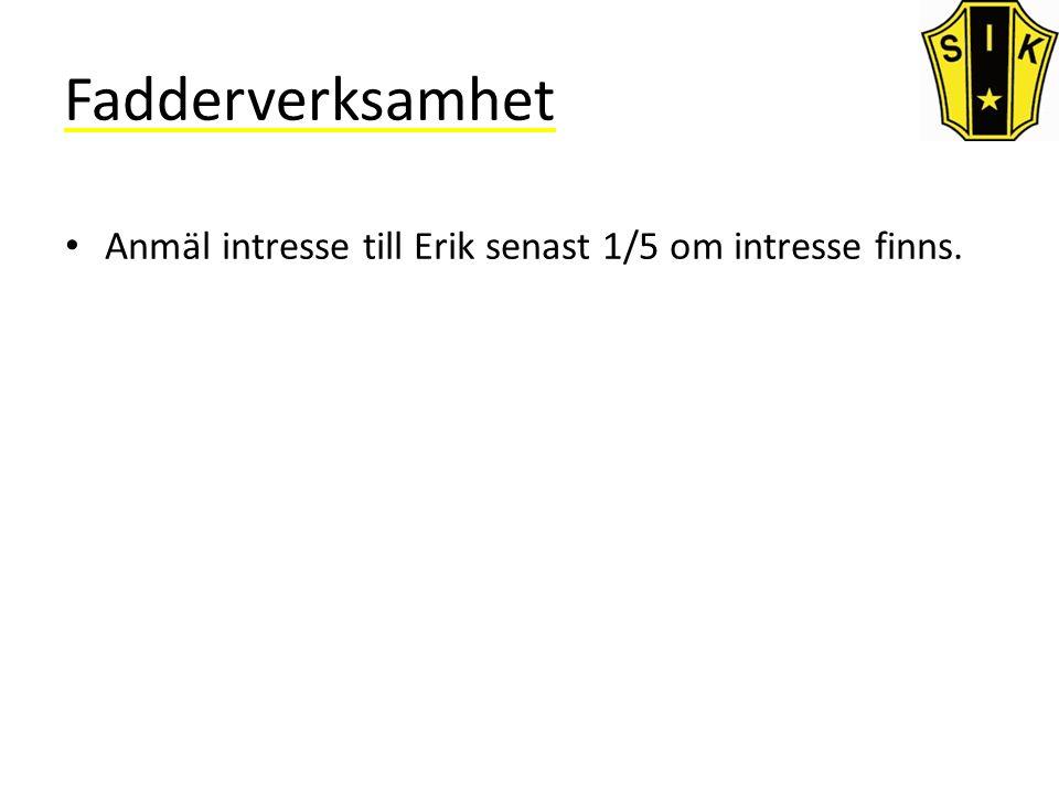 Fadderverksamhet Anmäl intresse till Erik senast 1/5 om intresse finns.