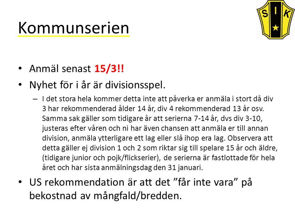 Kommunserien Anmäl senast 15/3!. Nyhet för i år är divisionsspel.