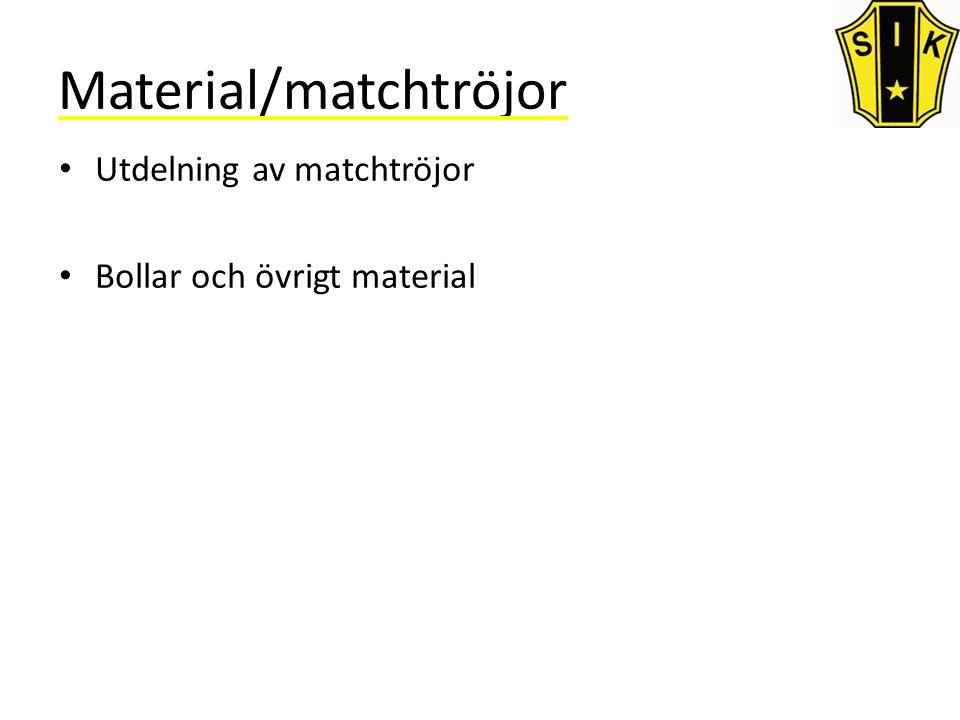 Material/matchtröjor Utdelning av matchtröjor Bollar och övrigt material