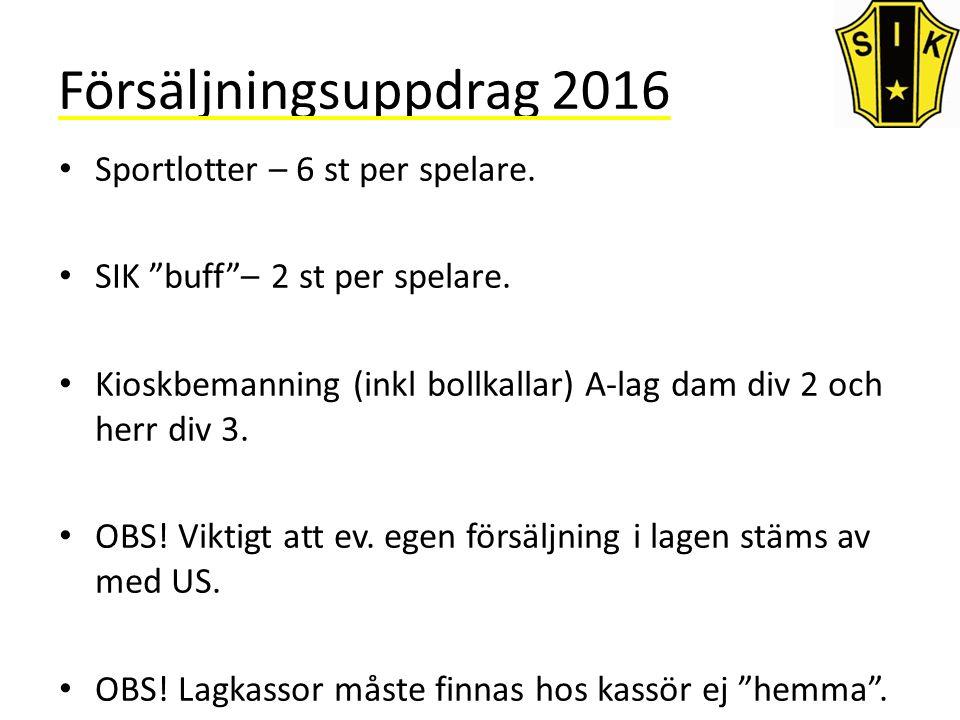 Försäljningsuppdrag 2016 Sportlotter – 6 st per spelare.