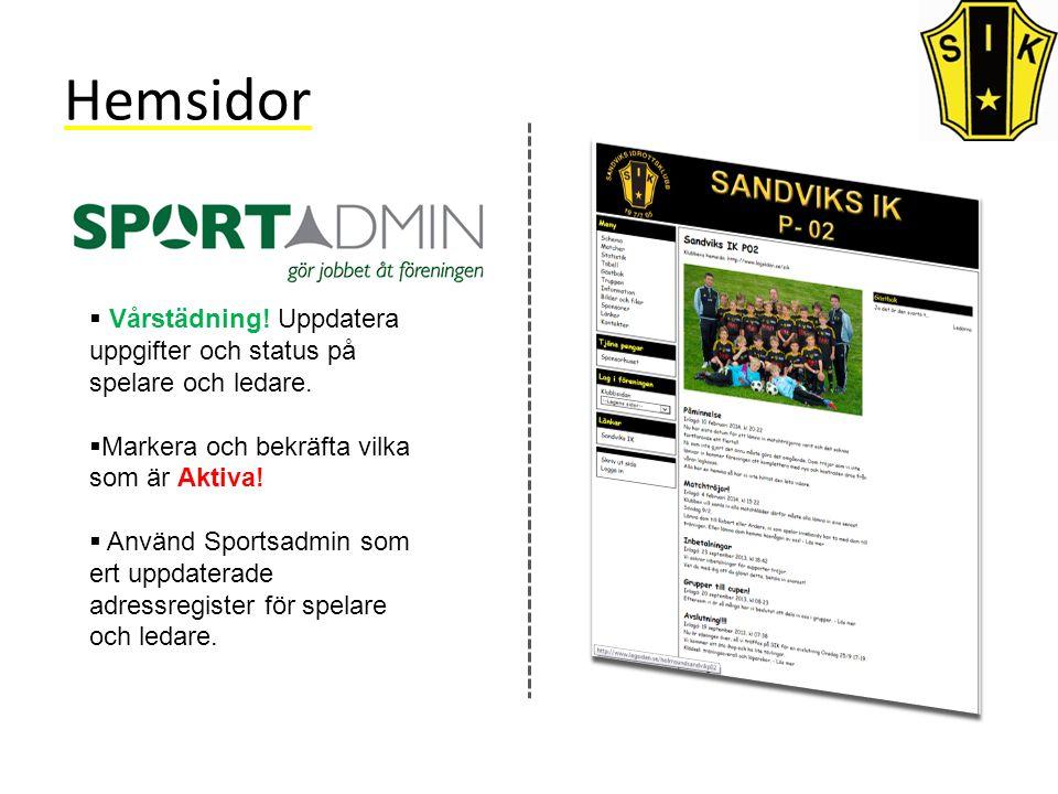 Hemsidor  Vårstädning. Uppdatera uppgifter och status på spelare och ledare.