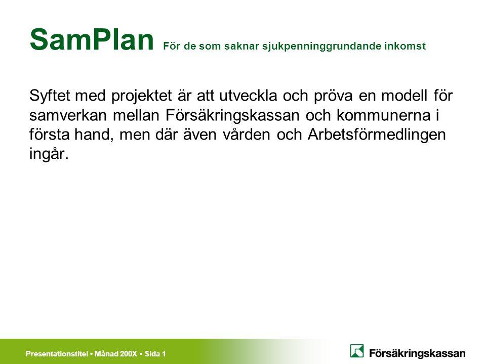 Presentationstitel Månad 200X Sida 1 SamPlan För de som saknar sjukpenninggrundande inkomst Syftet med projektet är att utveckla och pröva en modell för samverkan mellan Försäkringskassan och kommunerna i första hand, men där även vården och Arbetsförmedlingen ingår.