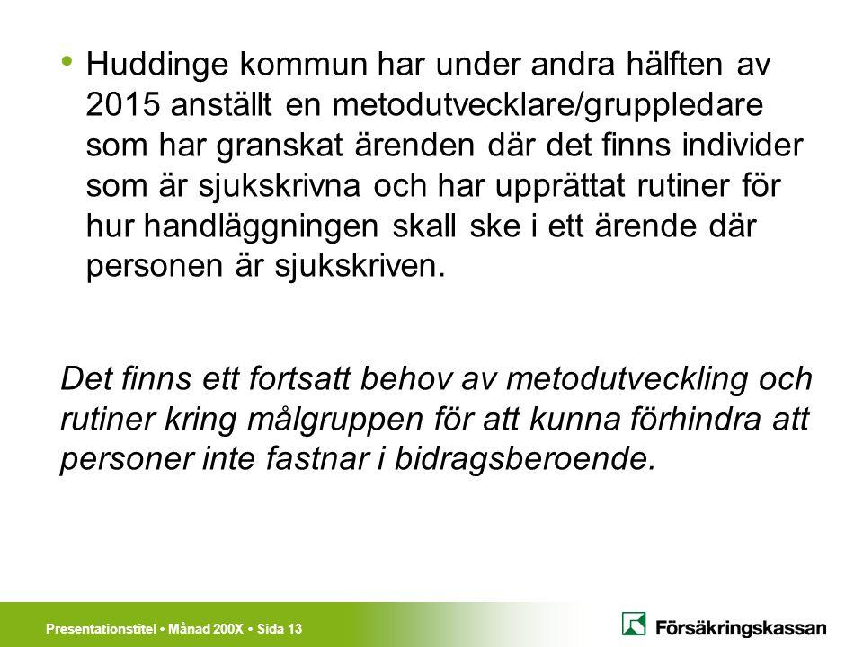 Presentationstitel Månad 200X Sida 13 Huddinge kommun har under andra hälften av 2015 anställt en metodutvecklare/gruppledare som har granskat ärenden där det finns individer som är sjukskrivna och har upprättat rutiner för hur handläggningen skall ske i ett ärende där personen är sjukskriven.