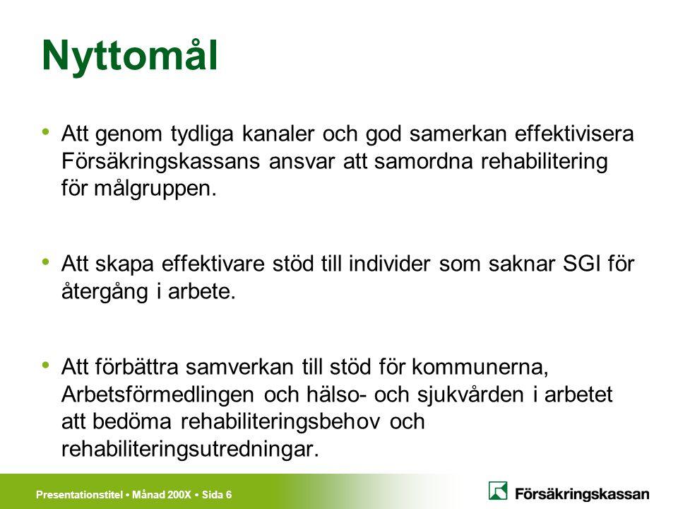 Presentationstitel Månad 200X Sida 6 Nyttomål Att genom tydliga kanaler och god samerkan effektivisera Försäkringskassans ansvar att samordna rehabilitering för målgruppen.