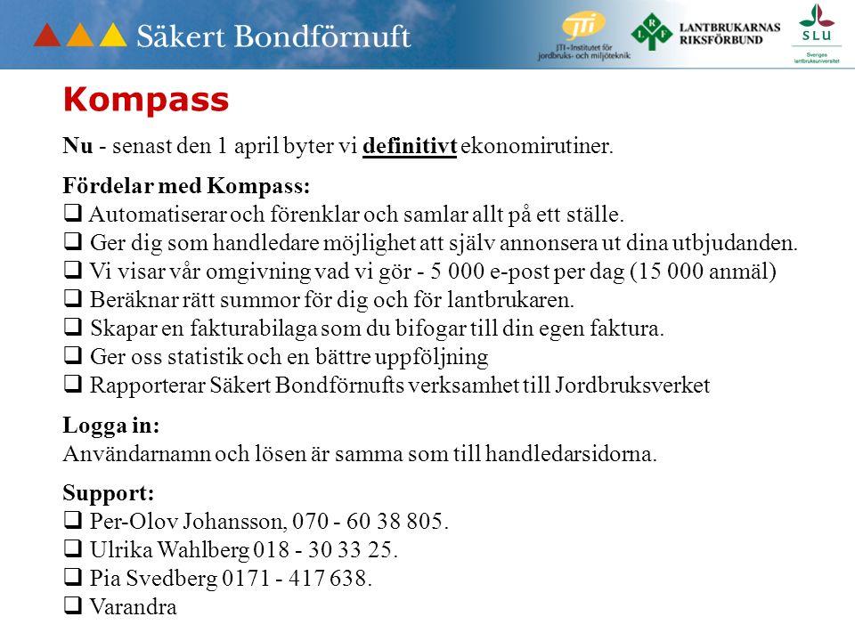 Kompass Nu - senast den 1 april byter vi definitivt ekonomirutiner.