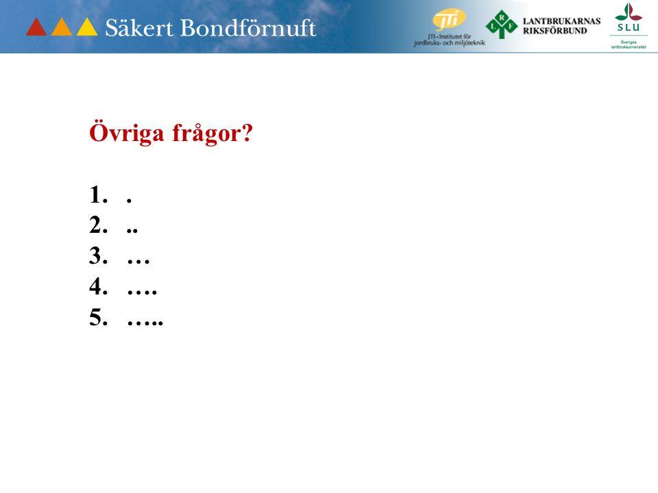Övriga frågor 1.. 2... 3.… 4.…. 5.…..