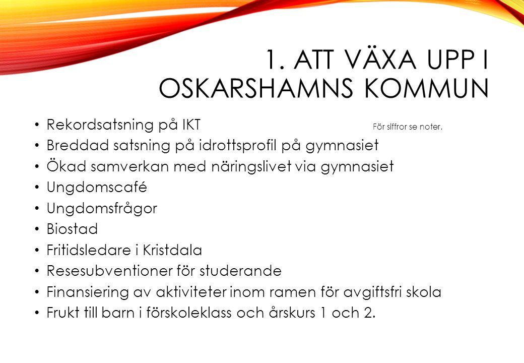1. ATT VÄXA UPP I OSKARSHAMNS KOMMUN Rekordsatsning på IKT För siffror se noter.