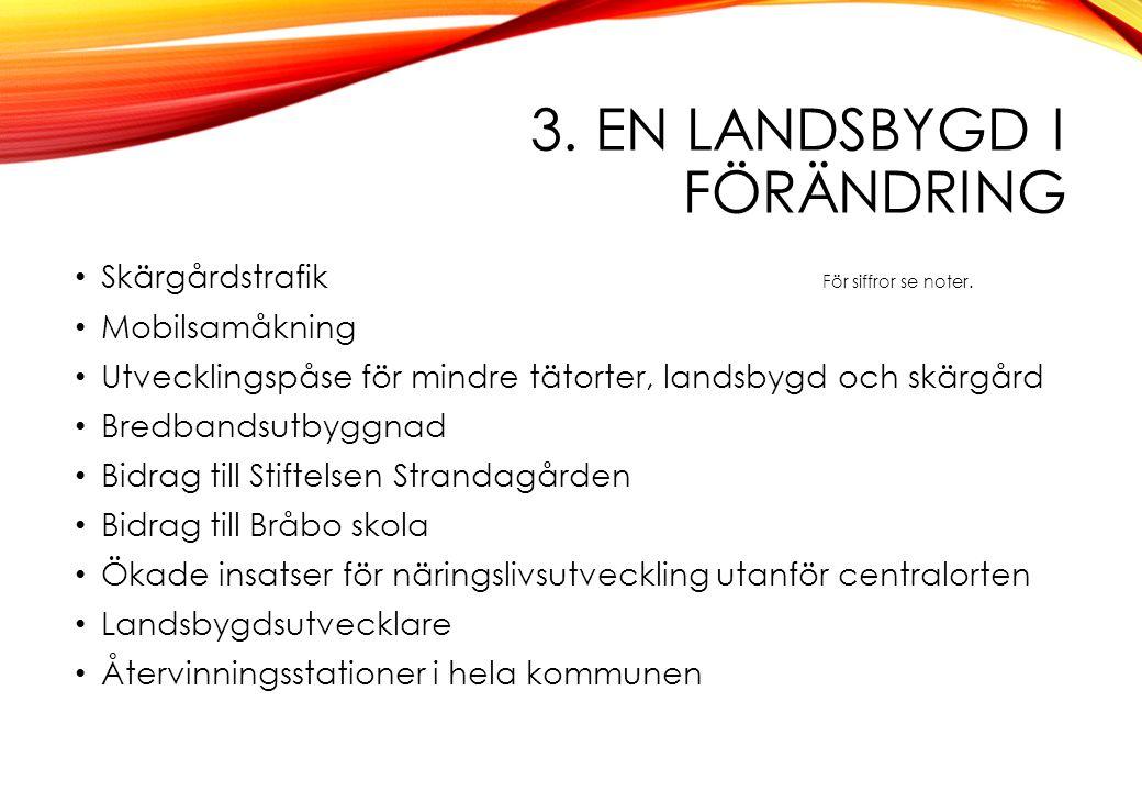 3. EN LANDSBYGD I FÖRÄNDRING Skärgårdstrafik För siffror se noter. Mobilsamåkning Utvecklingspåse för mindre tätorter, landsbygd och skärgård Bredband