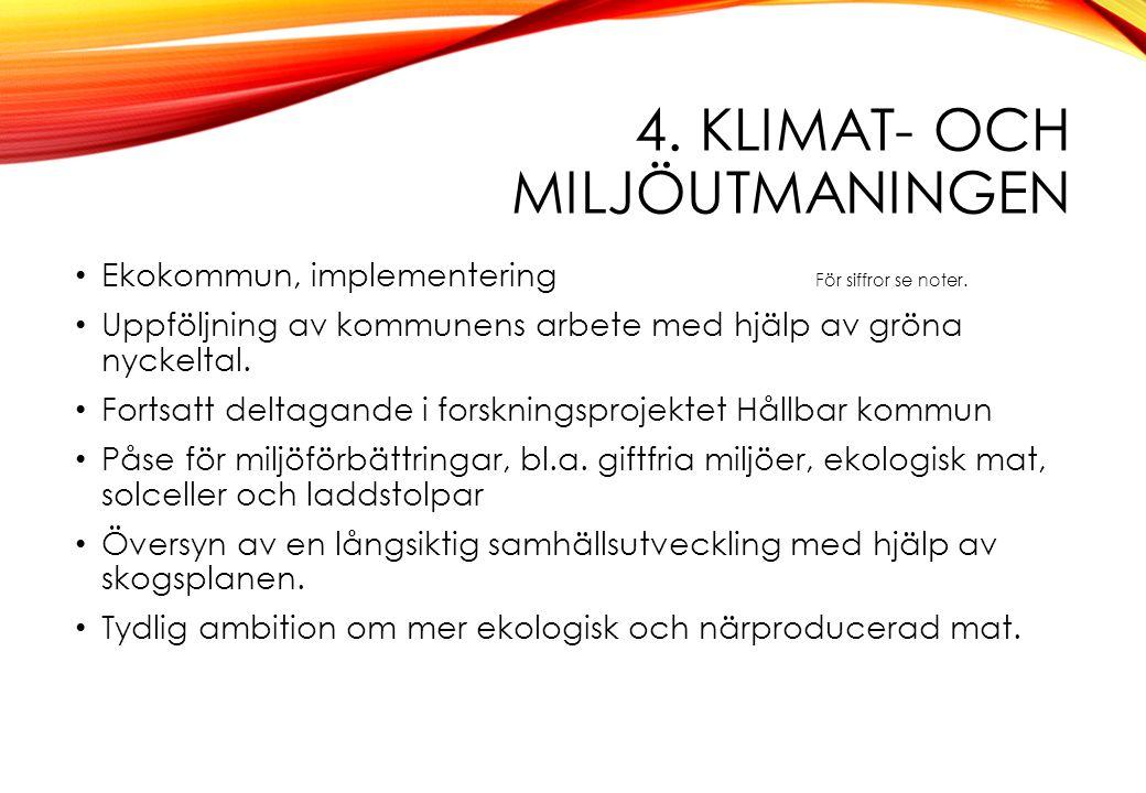 4. KLIMAT- OCH MILJÖUTMANINGEN Ekokommun, implementering För siffror se noter. Uppföljning av kommunens arbete med hjälp av gröna nyckeltal. Fortsatt