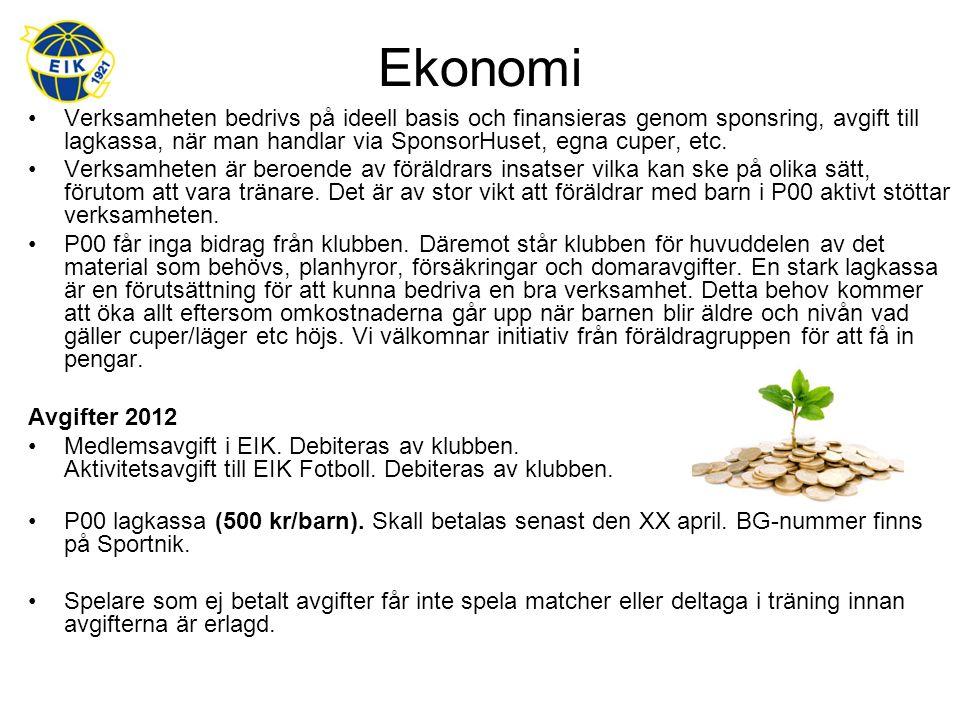 Ekonomi Verksamheten bedrivs på ideell basis och finansieras genom sponsring, avgift till lagkassa, när man handlar via SponsorHuset, egna cuper, etc.