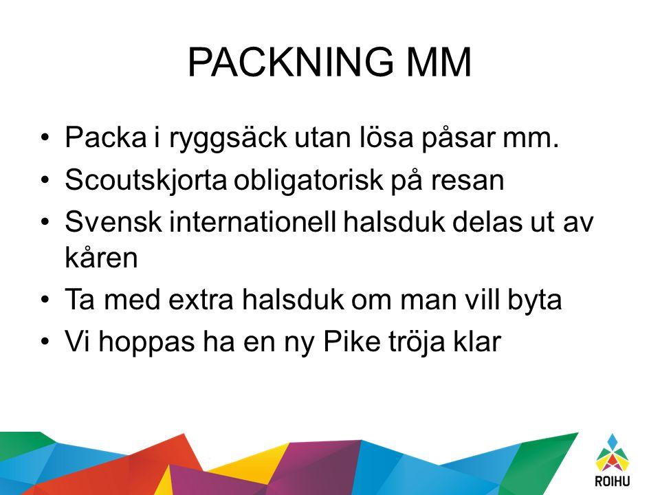 PACKNING MM Packa i ryggsäck utan lösa påsar mm.