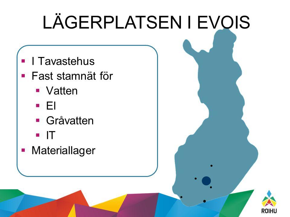 LÄGERPLATSEN I EVOIS  I Tavastehus  Fast stamnät för  Vatten  El  Gråvatten  IT  Materiallager
