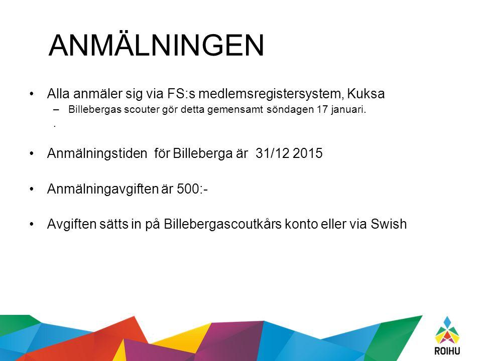 ANMÄLNINGEN Alla anmäler sig via FS:s medlemsregistersystem, Kuksa –Billebergas scouter gör detta gemensamt söndagen 17 januari..