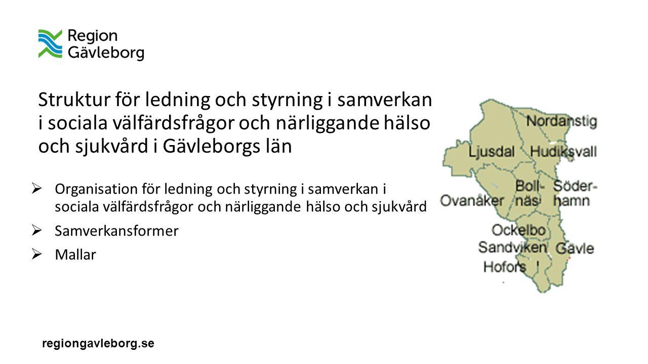 regiongavleborg.se Struktur för ledning och styrning i samverkan i sociala välfärdsfrågor och närliggande hälso och sjukvård i Gävleborgs län  Organisation för ledning och styrning i samverkan i sociala välfärdsfrågor och närliggande hälso och sjukvård  Samverkansformer  Mallar