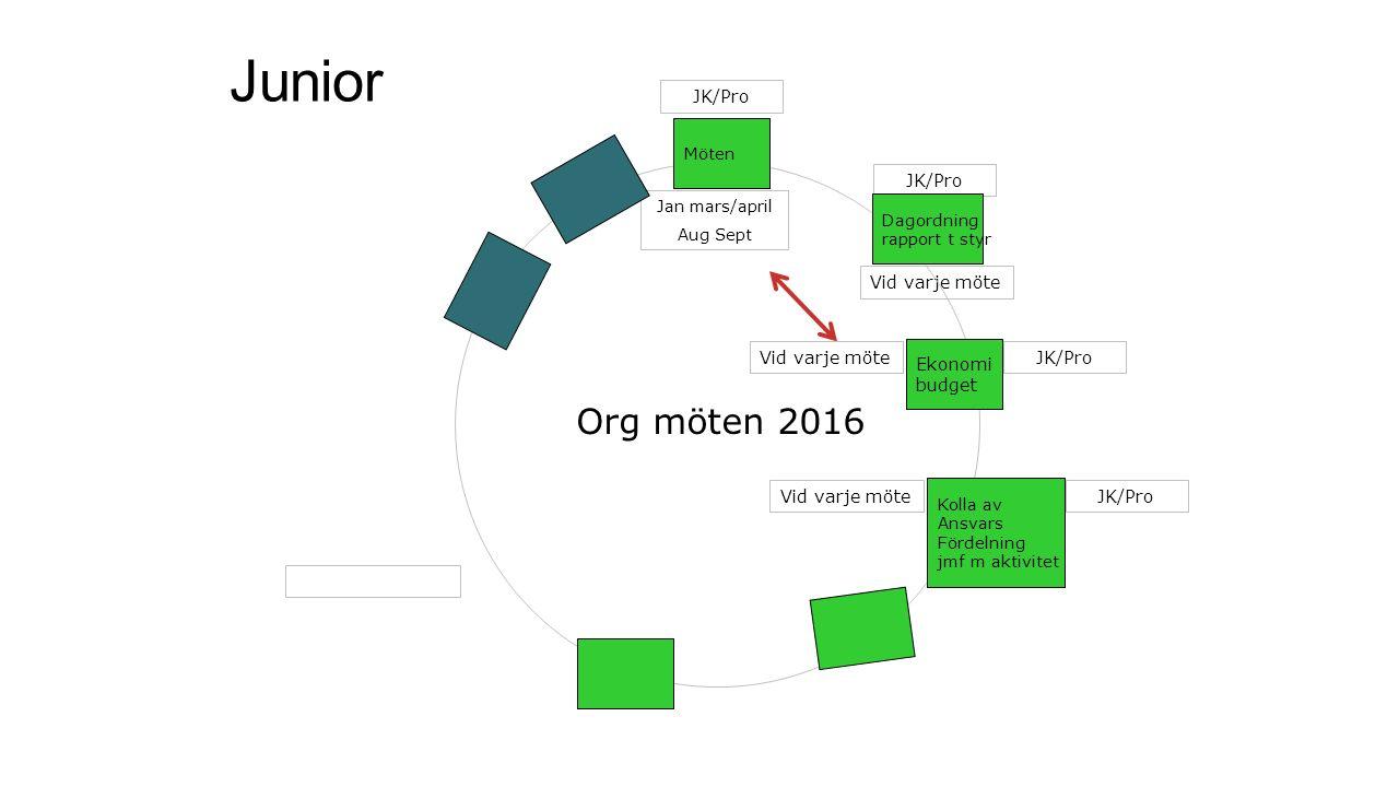 Junior Jan mars/april Aug Sept Vid varje möte Möten Kolla av Ansvars Fördelning jmf m aktivitet JK/Pro Ekonomi budget Dagordning rapport t styr Org möten 2016 JK/Pro Vid varje möte