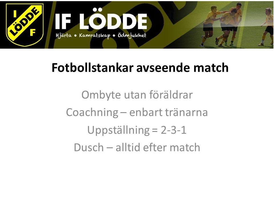 Fotbollstankar avseende match Ombyte utan föräldrar Coachning – enbart tränarna Uppställning = 2-3-1 Dusch – alltid efter match
