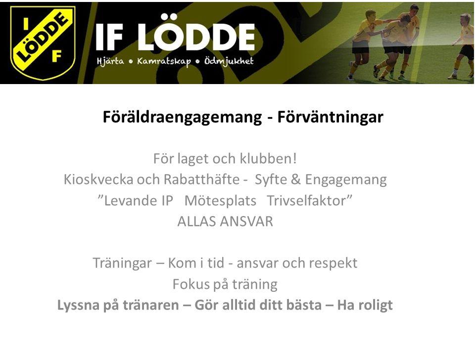 """Föräldraengagemang - Förväntningar För laget och klubben! Kioskvecka och Rabatthäfte - Syfte & Engagemang """"Levande IP Mötesplats Trivselfaktor"""" ALLAS"""