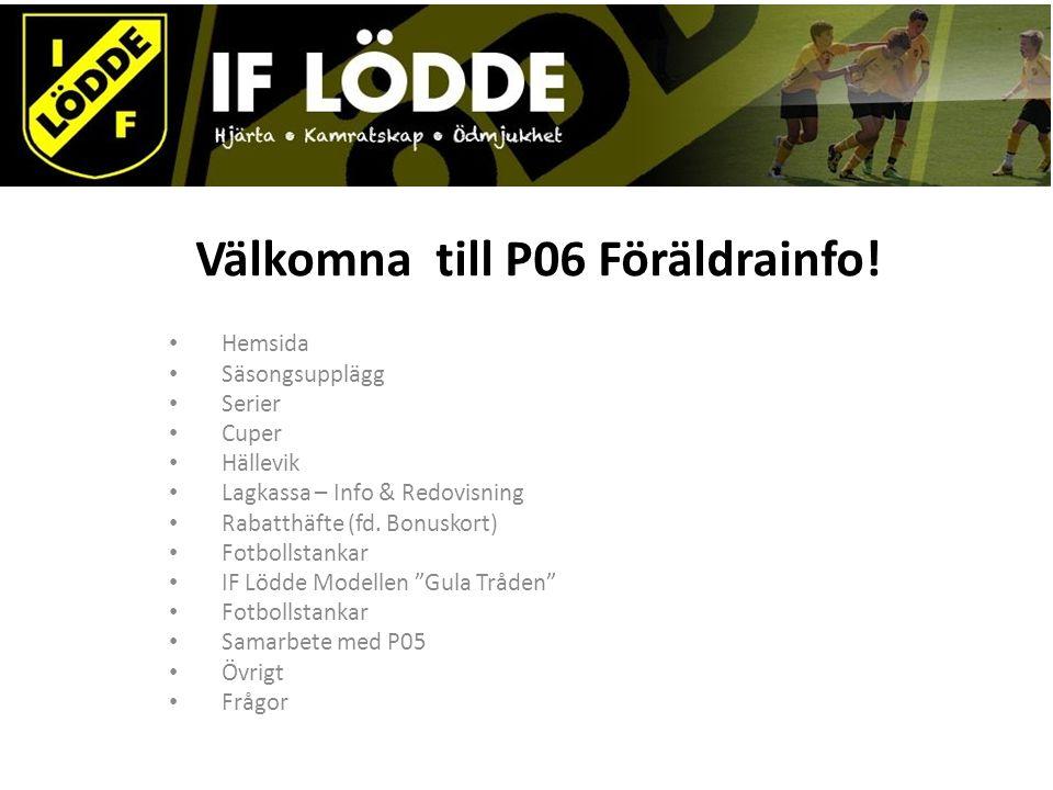 Välkomna till P06 Föräldrainfo! Hemsida Säsongsupplägg Serier Cuper Hällevik Lagkassa – Info & Redovisning Rabatthäfte (fd. Bonuskort) Fotbollstankar