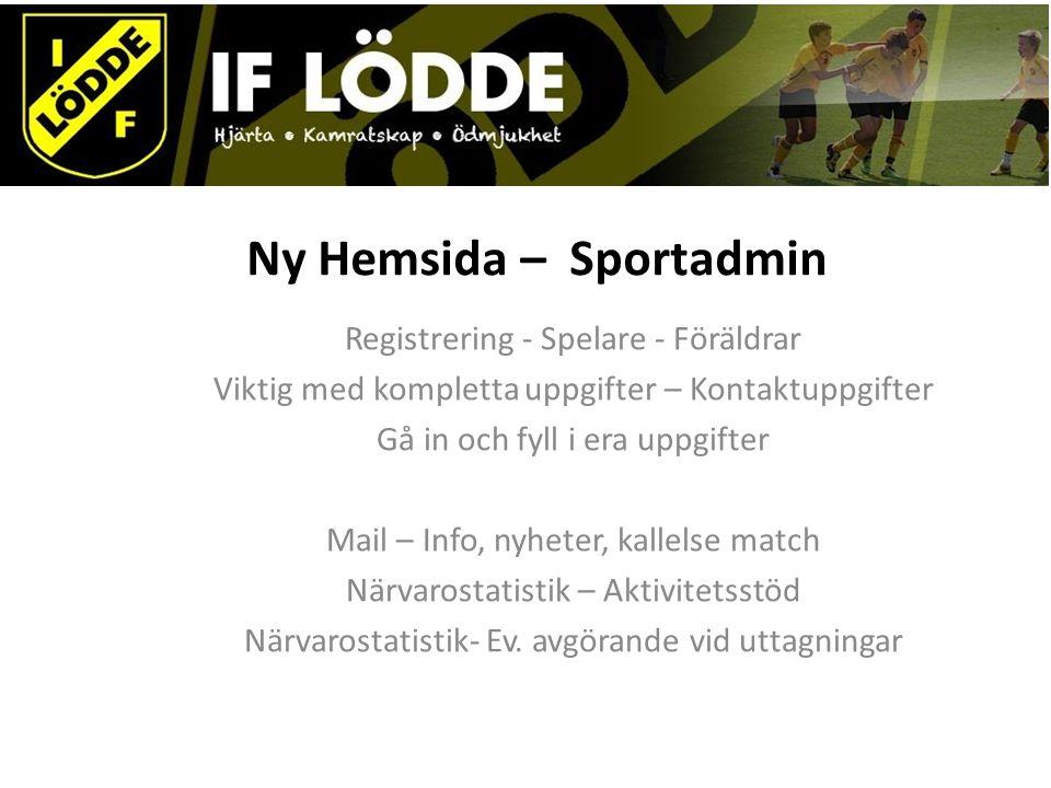 Ny Hemsida – Sportadmin Registrering - Spelare - Föräldrar Viktig med kompletta uppgifter – Kontaktuppgifter Gå in och fyll i era uppgifter Mail – Inf