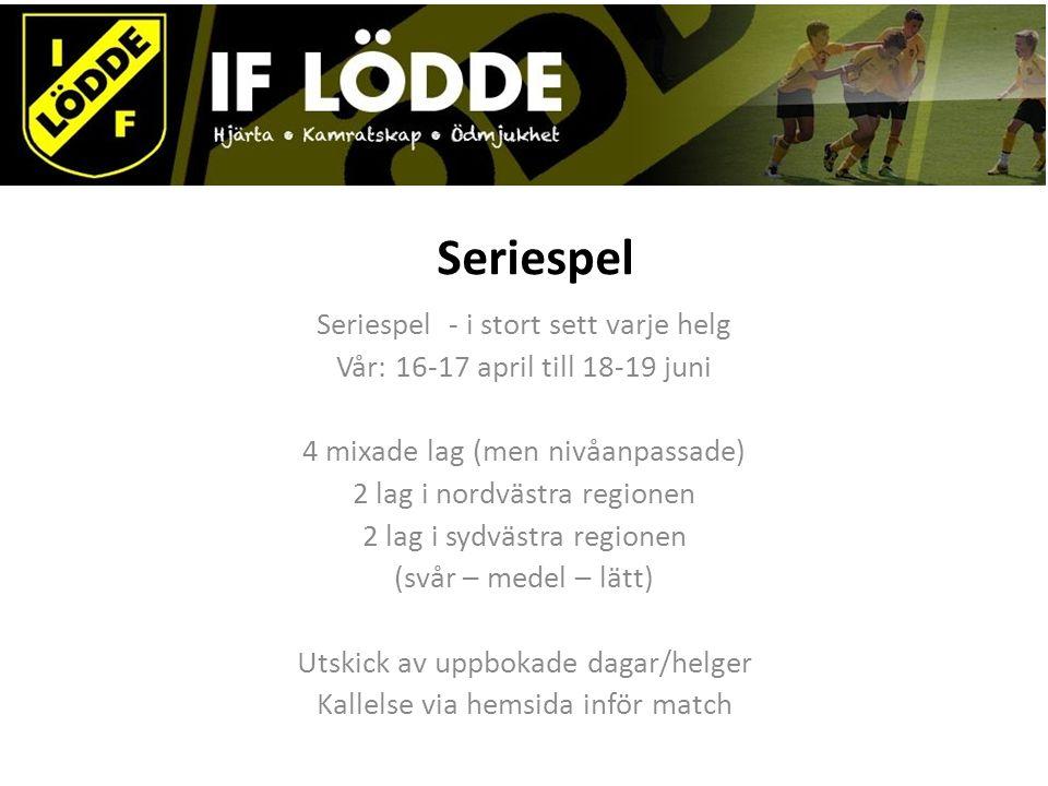 Seriespel Seriespel - i stort sett varje helg Vår: 16-17 april till 18-19 juni 4 mixade lag (men nivåanpassade) 2 lag i nordvästra regionen 2 lag i sy