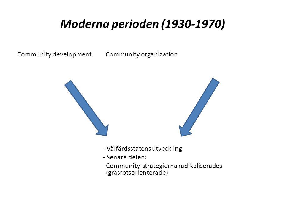 Moderna perioden (1930-1970) Community development Community organization - Välfärdsstatens utveckling - Senare delen: Community-strategierna radikaliserades (gräsrotsorienterade)