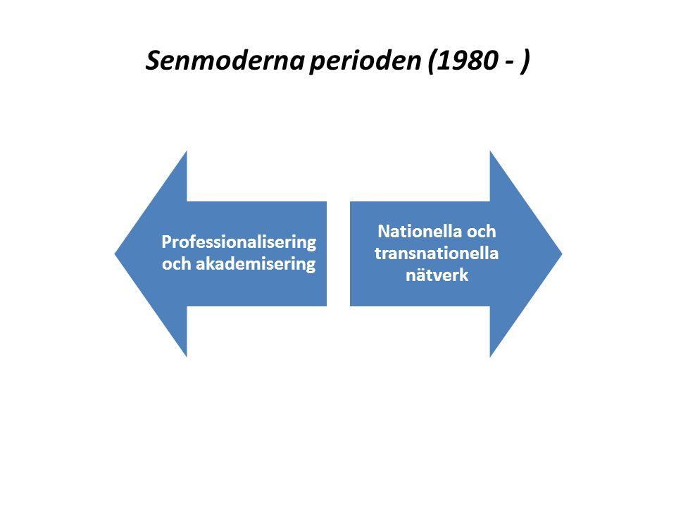 Senmoderna perioden (1980 - ) Professionalisering och akademisering Nationella och transnationella nätverk