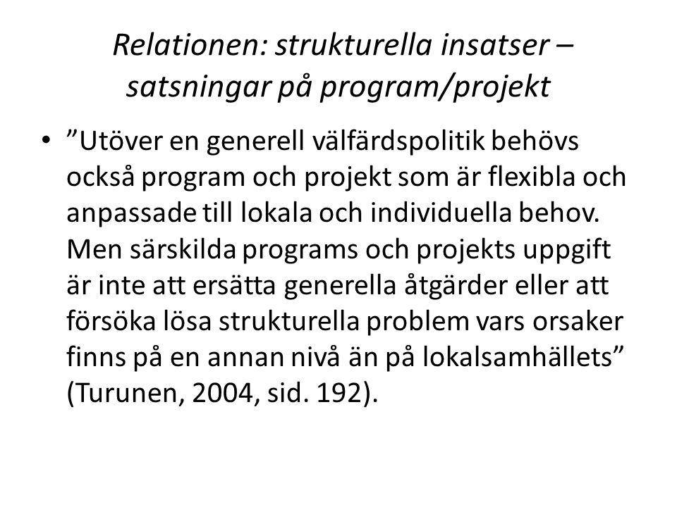 Relationen: strukturella insatser – satsningar på program/projekt Utöver en generell välfärdspolitik behövs också program och projekt som är flexibla och anpassade till lokala och individuella behov.